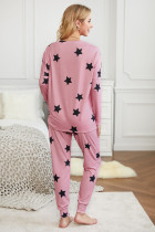 Pink Star Print Two-Piece Set Sports Wear