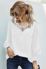 Witte blouse met kanten patchwork