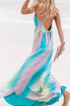 스카이 블루 슈가 플럼 스트라이프 맥시 드레스