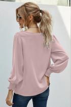 เสื้อเบลาส์สีชมพูลายลูกไม้คอวี