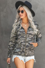Army Green Camo Print Zip Up Hooded Jacket