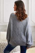 Sweater Rajutan Leher Bulat Berongga Abu-abu