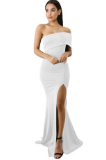 White Off The Shoulder Un rochie Sleeve Slit Maxi Party Prom Dress