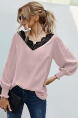 V-hals kanten patchwork roze blouse