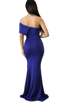 Albastru Off The Shoulder Un rochie Sleeve Slit Maxi Partidul Prom Dress