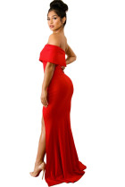 Red Off The Shoulder One Sleeve Slit Slike Maxi Party Prom Dress