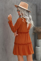 Minivestido liso con volantes de manga larga naranja