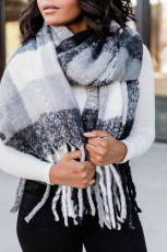 Black Plaid Fringe Scarf