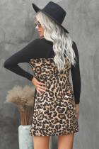 Gaun Mini Katun Hitam Splicing Macan Tutul