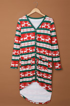 Green Christmas Element Print Long Cardigan