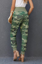 Green Camouflage Pocket Casual Pants With Slit