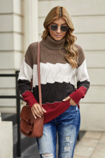 Red Turtle Neck Color Block Fluffy Twist Sweater