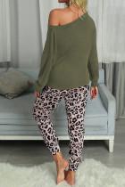 Зеленые повседневные брюки с леопардовым принтом с длинным рукавом, комплект домашней одежды