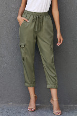 Olive Drawstring Cargo Pocketed Joggers