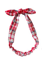 Jul flerfarget Plaid Snowflake Print Bowknot Headband
