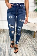 Mørkeblå Leopard Patch Distressed Skinny Jeans