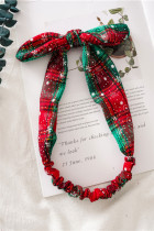 Christmas Green Red Plaid Snowflake Print Bowknot Headband