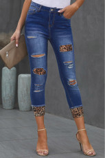 Distressed Leopard Patches Blaue Röhrenjeans