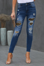 Patches von Leopard Denim Distressed Jeans
