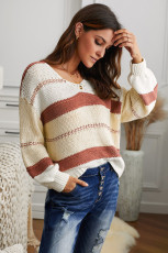 V-neck Knitted Lantern Sleeve Pullover Sweater