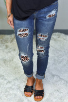 Leopard Patch Destroyed Skinny Blue Jeans