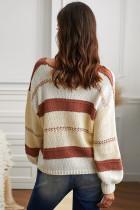V-udskåret strikket sweater med lanterneærmet pullover