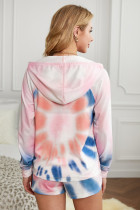Setelan Celana Pendek Hoodie Tie-dye Pink Cotton Blend Pocketed