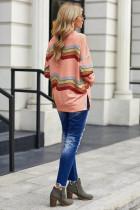 핑크 컬러 블록 클래식 스웨트 셔츠