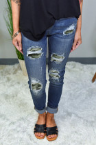 Grüner Patch Destroyed Skinny Jeans