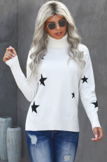 เสื้อสเวตเตอร์พิมพ์ลายดาวแขนคอเต่าสีขาว