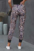 Bruine joggingbroek van katoen met luipaardprint