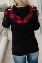 Bluza z kapturem z podwójnym kapturem w czerwoną kratę
