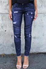 Jeans Skinny Tertekan Patchwork Biru Tua