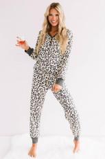 Beige Leopard Printed Button Pajamas Set