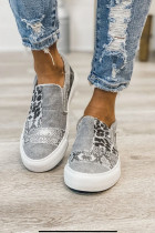 Grey Snake Leopard Mixed Print Slip-on Canvas
