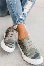 Green Camo Print Slip On Flat Sneaker
