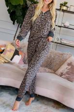 Коричневый пижамный комплект на пуговицах с леопардовым принтом