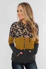Leopard Print Color Block Drawstring Hoodie