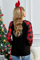 Merry Christmas Black Long Sleeve Top