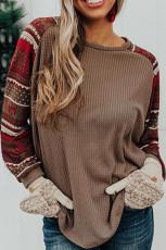 Leher Bulat Natal Cetak Waffle Knit Top