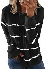 Hoodie Serut Bergaris Tie-dye Hitam dengan Side Split