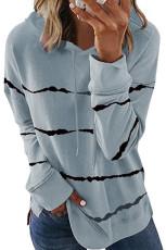 Grey Tie-dye Striped Drawstring Hoodie dengan Side Split