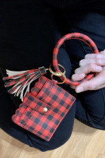 Red Plaid Leather Tassel Bag With Key Chain