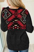 Черные худи с этническим геометрическим принтом и карманом