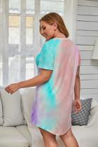 Gaun Mini Multi-Warna Tie-dye Lengan Pendek Plus Ukuran
