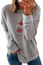 Серый модный рождественский свитшот с заниженными рукавами и принтом
