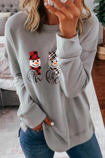 Gray Dropped Sleeve Snowman Cetak Kaus Natal