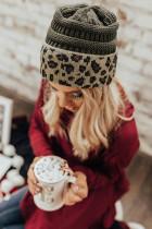 قبعة ليوبارد محبوكة باللون الرمادي