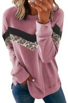 Merah Muda Macan Tutul Cetak Crew Leher Warna Blok Sweatshirt