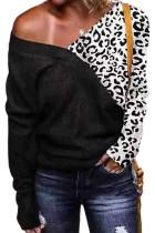 Musta kylmä olkapää Leopardilla neulottu villapaita